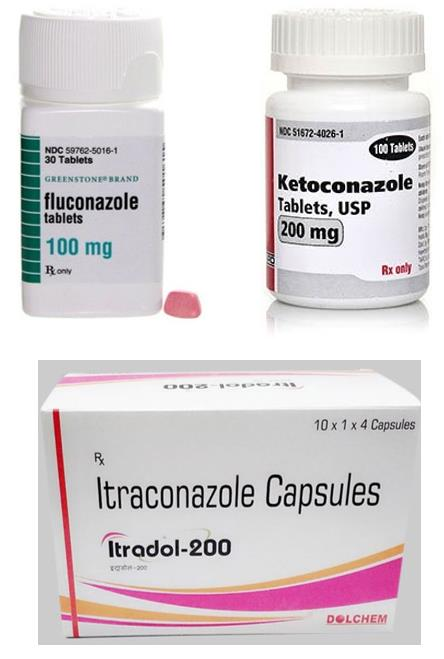 The main oral medicines used to treat severe fungal acne include ketoconazole tablets, itraconazole tablets, and fluconazole tablets.