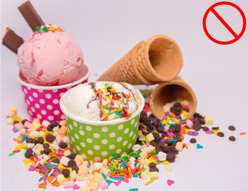 Eat less sweets such as ice cream and cones. These sweets can cause acne.