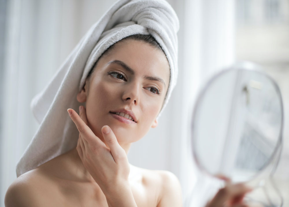 A woman is serious about skin care