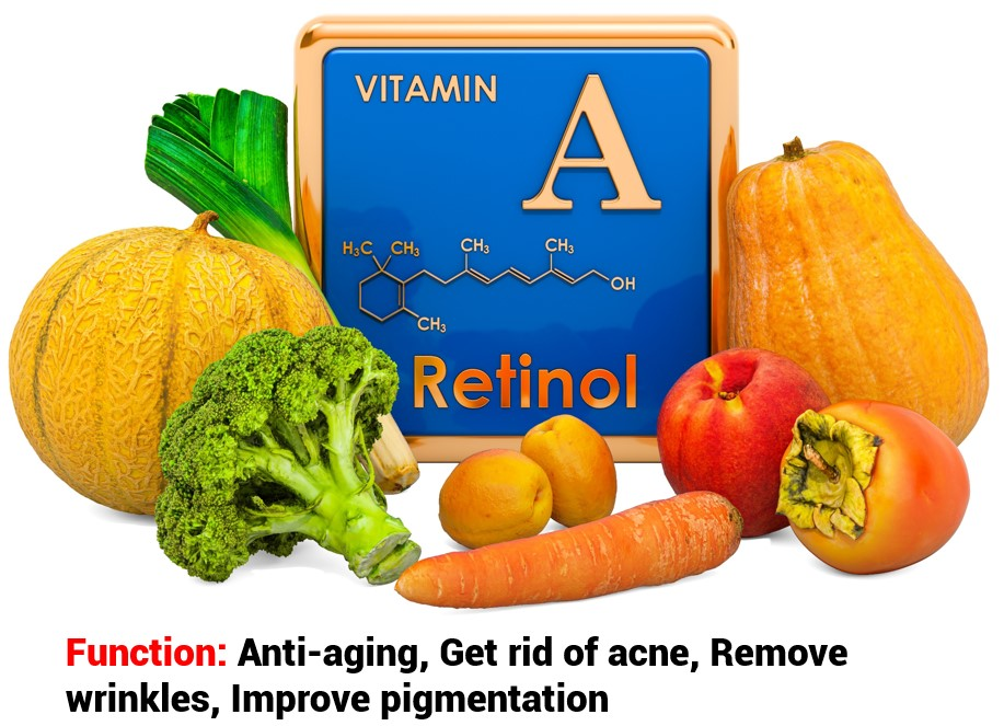 The main function of vitamin A in skin care products is to improve the photo-aging phenomena such as fine lines, wrinkles and pigmentation.