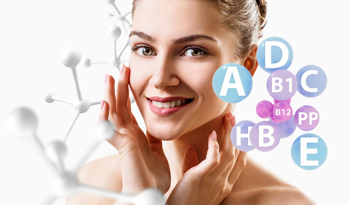 A woman often uses vitamin-containing skin care products and her skin is very good.